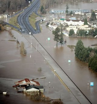 I-5 at Chehalis in 2007 Flooding